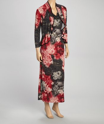 Red Floral Drape Neck Dress & Shrug - Women & Plus