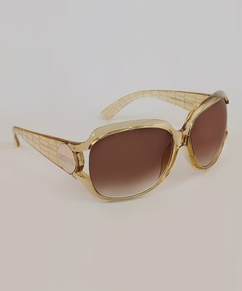 Crystal Champagne Crocodile Butterfly Sunglasses