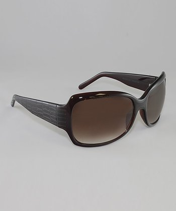 Crystal & Chestnut Gradient Lens Crocodile Butterfly Sunglasses