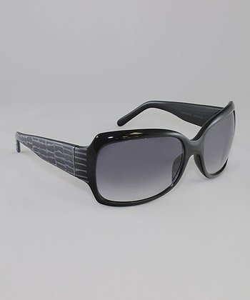 Black & Smoke Gradient Lens Crocodile Butterfly Sunglasses