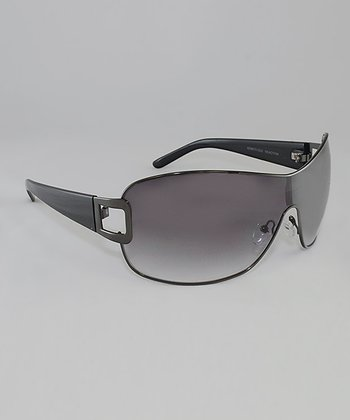 Gunmetal & Smoke Gradient Lens Shield Sunglasses