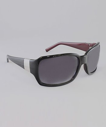 Black & Metallic Red Banded Butterfly Sunglasses