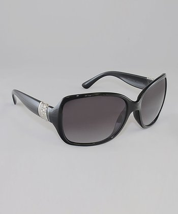 Black & Smoke Gradient Lens Silver Hardware Butterfly Sunglasses