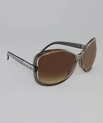 Metallic Chestnut Gradient Lens Butterfly Sunglasses