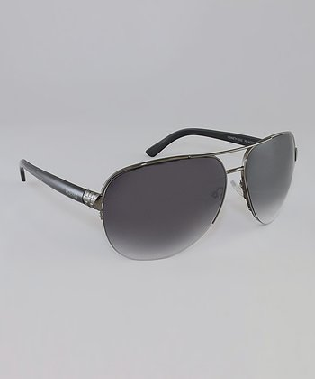Gunmetal & Smoke Gradient Lens Solid Pilot Sunglasses