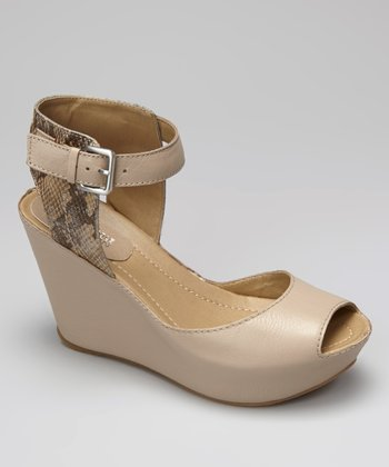Taupe Snakeskin Sole My Heart Peep-Toe Wedge