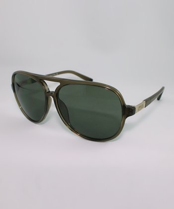Gold & Green Lens Bold Frame Pilot Sunglasses