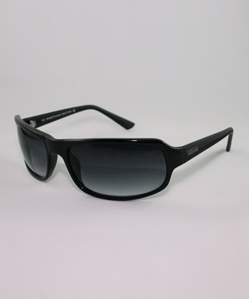 Black Gradient Rectangle Wrap Sunglasses