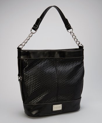 Black Woven Bucket Bag