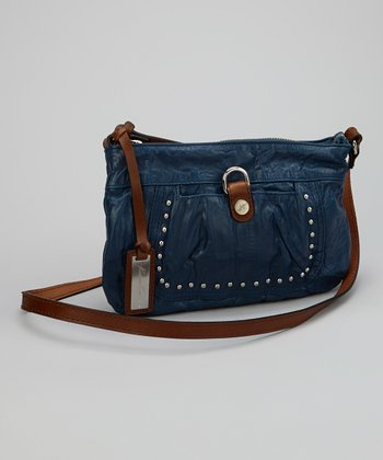 Blue Studded Crossbody Bag