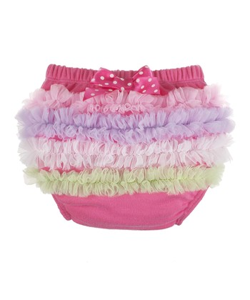 GANZ Dark Pink Rainbow Ruffle Diaper Cover