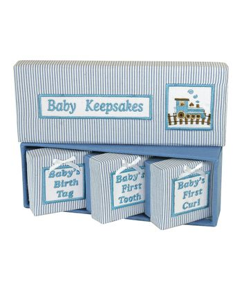Blue & White Stripe 'Baby Keepsakes' Box Set