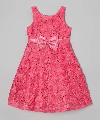 Jayne Copeland Fuchsia Sequin Rosette Bow A-Line Dress - Girls