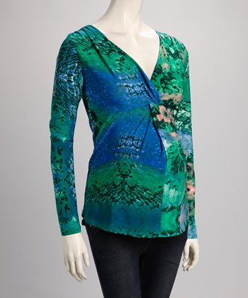 Green Abstract Maternity V-Neck Top