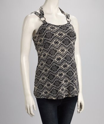 Gray Geometric Maternity Halter Top