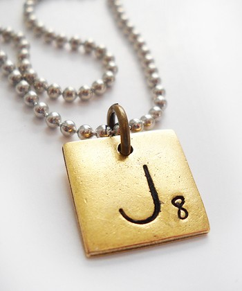 Antiqued Gold & Silver 'J' Game Tile Pendant Necklace