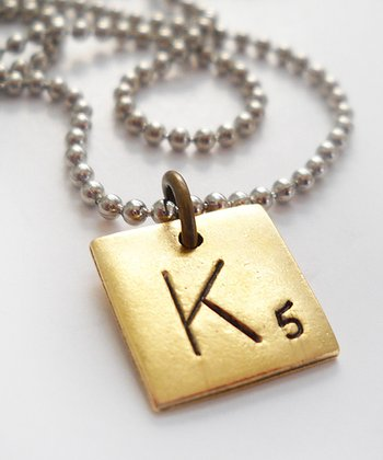 Antiqued Gold & Silver 'K' Game Tile Pendant Necklace