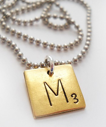 Antiqued Gold & Silver 'M' Game Tile Pendant Necklace