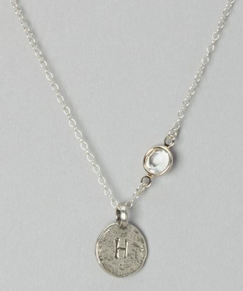 Sterling Silver & Crystal Hammered Initial Pendant Necklace