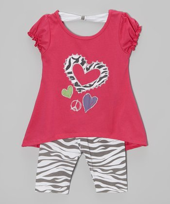 Fuchsia Heart Top & Zebra Leggings - Toddler