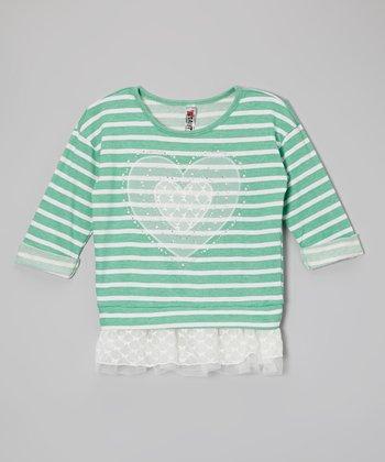 Seafoam Stripe Heart Chiffon Layered Sweatshirt