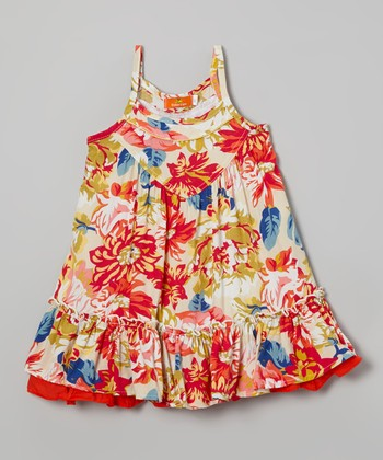Pink & Red Floral Layered Dress - Toddler & Girls