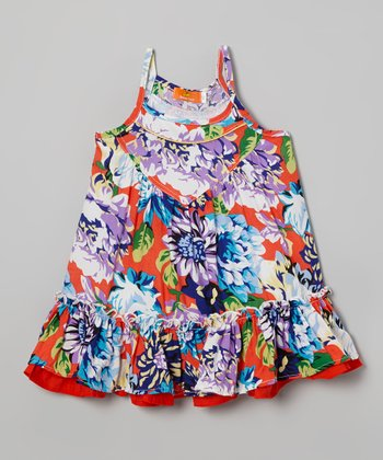 Red & Blue Floral Layered Dress - Toddler & Girls