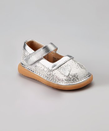 Pickle Footwear Silver Sparkle Squeaker Mary Jane