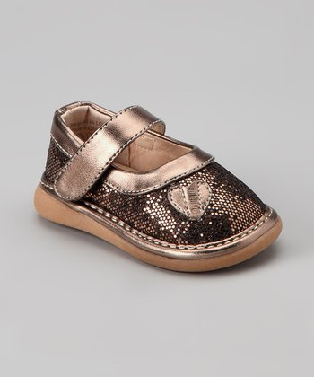 Pickle Footwear Bronze Sparkle Flower Squeaker Mary Jane