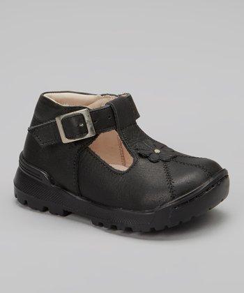 Little Dominique Black Flower Studded T-Strap Shoe