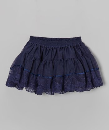 Navy Lace Tiered Ruffle Skirt - Infant, Toddler & Girls