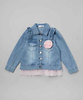 Pink Rose & Ruffle Denim Jacket - Toddler & Girls