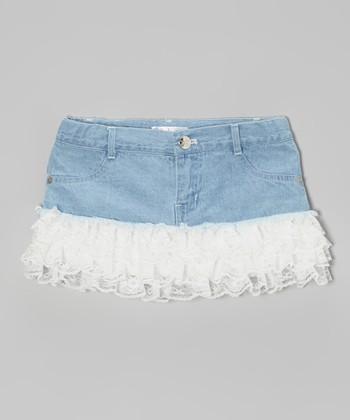 White Light Wash Denim Ruffle Skirt - Toddler & Girls