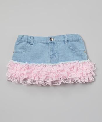 Pink Light Wash Denim Ruffle Skirt - Toddler & Girls