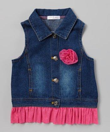 Fuchsia Rose & Ruffle Denim Vest - Toddler & Girls