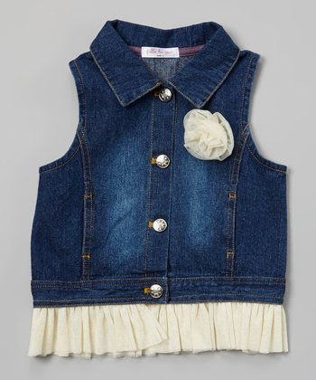 Ivory Rose & Ruffle Denim Vest - Toddler & Girls