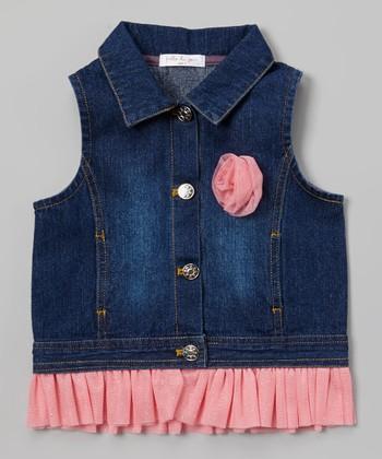 Pink Rose & Ruffle Denim Vest - Toddler & Girls
