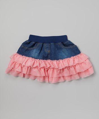 Pink Denim Ruffle Skirt - Toddler & Girls