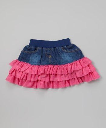Fuchsia Denim Ruffle Skirt - Toddler & Girls