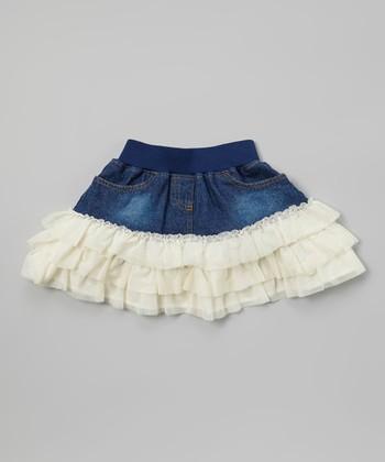 Ivory Denim Ruffle Skirt - Toddler & Girls
