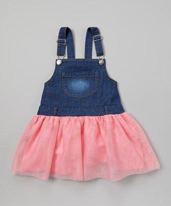 Pink Denim Tutu Overall Dress - Toddler & Girls
