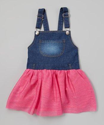 Fuchsia Denim Tutu Overall Dress - Toddler & Girls