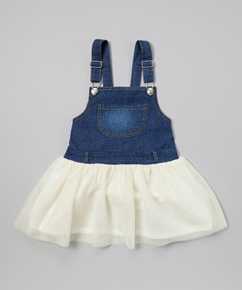Ivory Denim Tutu Overall Dress - Toddler & Girls