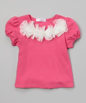 Fuchsia Tulle Flowers Puff-Sleeve Tee - Toddler & Girls