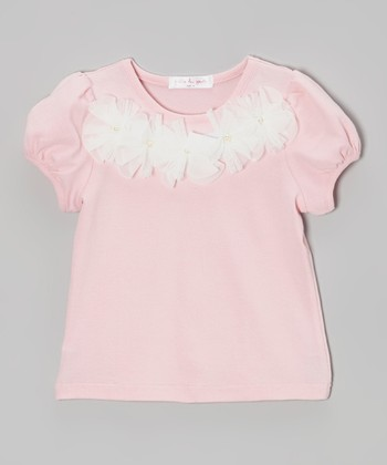 Pink Tulle Flowers Puff-Sleeve Tee - Toddler & Girls