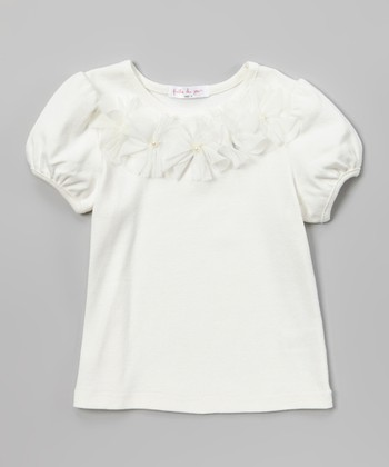 Ivory Tulle Flowers Puff-Sleeve Tee - Toddler & Girls