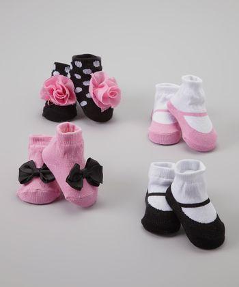 Baby Essentials Pink & Black Sock Set