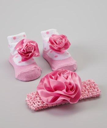 Baby Essentials Pink Polka Dot Sock & Headband Set