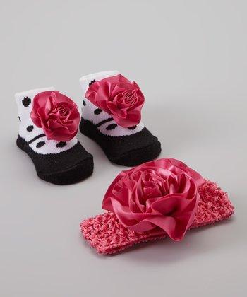 Baby Essentials Hot Pink & Polka Dot Sock & Headband Set
