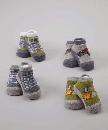Baby Essentials Grey & Green Sneaker Sock Set